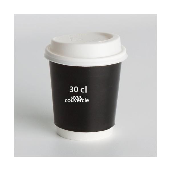 gobelet carton 30cl avec couvercle imprim 39 com. Black Bedroom Furniture Sets. Home Design Ideas