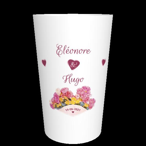 Gobelet mariage en plastique Bouquet de roses