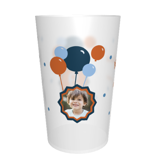 Verre en plastique anniversaire Photo ballons bleu/orange