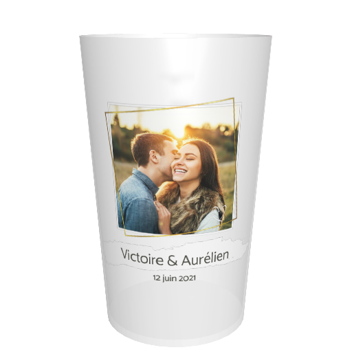 Gobelet mariage imprimé Photo cadre doré