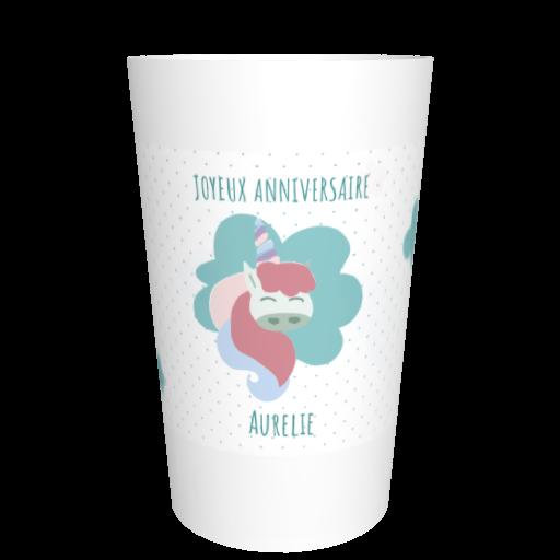 Ecocup anniversaire personnalisable Licorne
