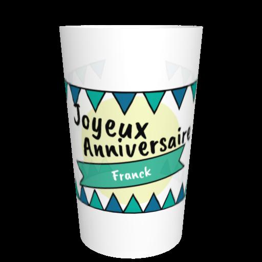 Gobelet anniversaire personnalisé Fanions vert/bleu