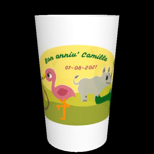 Eco-gobelet anniversaire réutilisable Savane