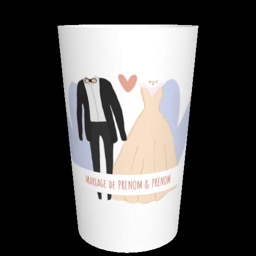 Gobelet mariage imprimé Costume/robe mixte