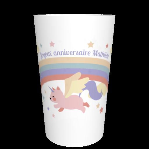 Ecocup anniversaire personnalisable Licorne arc-en-ciel